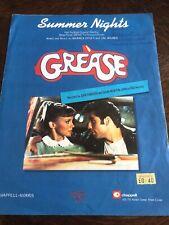Summer Nights - Grease - John Travolta and Olivia Newton John - 1978 Sheet Music