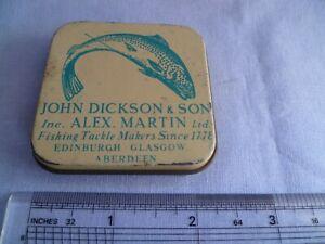 VINTAGE JOHN DICKSON & SON Inc. ALEX MARTIN TIN BOX FOR TROUT SALMON FLIES