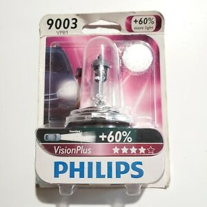Philips 9003 VisionPlus Upgrade HeadLight Bulb +60% more Light- 1 Pack #9003VPB1