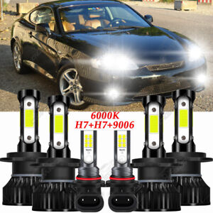 For Hyundai Tiburon 2003 2004 2005 2006 Combo 6x LED Headlight + Fog Light Bulbs