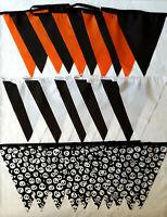 3 for 2 OFFER 10 FT 3m Halloween Black Orange Skull Crossbones Pirate Bunting