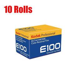 NEW 10 Rolls Kodak E100 EKTACHROME 35mm 135-36 Color Slide Film 10/2020