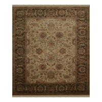 "8'1"" x 10' Hand Knotted 100% Wool Agra Oriental Area Rug Beige Traditional"