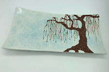 Hand Painted Serving Footed Tray Ceramic Rectangle Willow Tree Pattern Signed