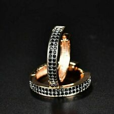 Delicate 1.50Ct Round Black Diamond Hoop Earrings Solid 14K Rose Gold Finish