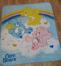 "VTG Vintage Care Bears Cartoon Luxury Plush Blanket 57"" Long And 50"" Wide"