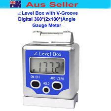 Digital 360°(±180°)Angle Gauge Meter Inclinometer Level Box w/V-Groove/magnet