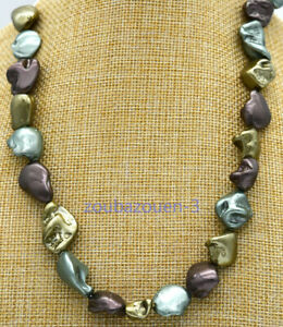 New 14x18x10mm Multicolor Irregular South Sea Shell Pearl Necklace 18 inches
