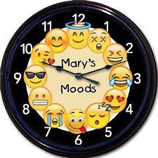 """Emoji Emoticon Wall Clock Mood emotion Custom Personalized Black Rim New 10"""""""