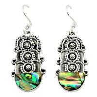 Natural Green Abalone Paua Seashell 925 Silver Dangle Earrings D15891