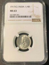 1917 (C) BRITISH INDIA 1/4 Rupee NGC MS63 KING GEORGE V Silver@ KM#518