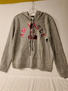 Super Soft American Eagle Grey Pullover with Metallic Pink Logo-Large