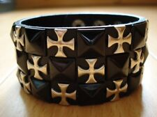 Cross Checkered Studded Black Leather Bracelet