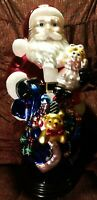 """Vintage 19"""" Traditions Handpainted Hand Blown Glass Santa Clause Christmas Decor"""