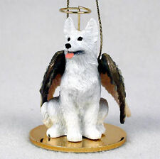 German Shepherd Dog Figurine Ornament Angel Statue Hand Painted White