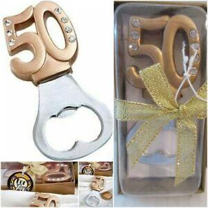 50th Birthday Anniversary Reunion Gold Color w/ Diamond Like Gems Bottle Opener
