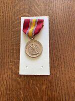 Vtg Korean War National Defense Medal & Ribbon US Military Bald Eagle Coat Arms