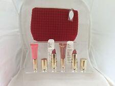 Clarins 4 pc Beautiful Lip Essentials x 2 Joli Rouge lipsticks, x2 Lip perfector