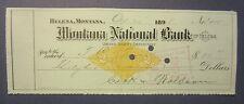 Old 1898 - HELENA Montana - Bank Check - Revenue Stamp - U.S. Depositary