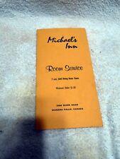 VTG Restaurant Menu Michael's Inn Niagara Falls Canada Room Service 1950's