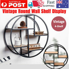 Metal 4 Level Round Wall Shelf Floating Shelves Display Unit Storage Rack Decor