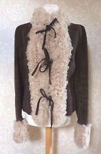 Dolce & Gabbana  BROWN SUEDE SHEARLING FUR JACKET  Size 46 UK 10 & Suit Carrier