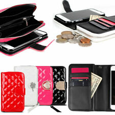 Zipper Quilting Wallet Case for Apple iPhone 12 11/ XS Max/ XR XS X 8 7 6 6s SE2