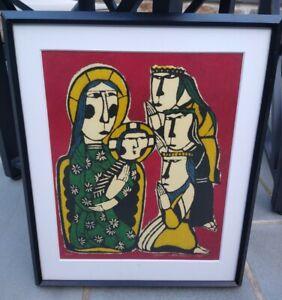 1983 Sadao Watanabe Japanese Stencil Woodblock Print Numbered 13/100 Religious