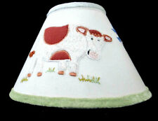 Small Clip On White Fabric Lampshade With Fabric Cow Applied & Plastic Interior
