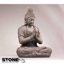 XXL Buddha Skulptur Gartendeko KWAN YIN sitzend steingrau Höhe 59cm Fibreclay