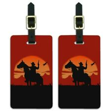 Cowboy on Horse with Red Sunset and Gun Luggage ID Tags Cards Set of 2