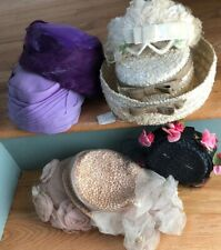 7 Vintage Womans Feathers Veiling Hats