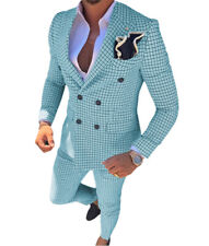 Mens 2Pieces Double Breasted Suit Slim Plaid Tuxedos Groomsmen Blazer+Pant Notch