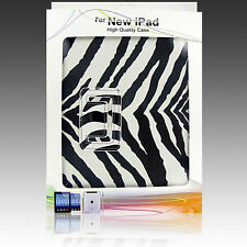 Zebra Leather PU Smart Case Cover Folio Stand Wake Sleep For New iPad 2 3 4