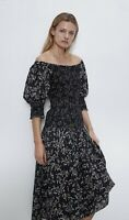 Zara SS20 Printed Dress Off Shoulder Midi Black Floral Size L Ref 7521/045/800