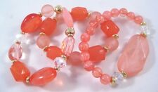Stunning New Coral & Gold Colored Bead 3 Piece Stretch Bracelet Set #B1333