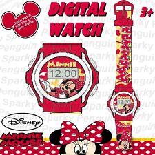 100% Auténtico Disney Minnie Mouse Reloj Digital Rosa CHILDS CHICAS Lcd Mickey