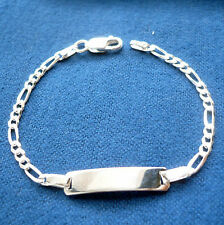 925 STERLING SILVER FIGARO LINK BABY ID BRACELET / personalize