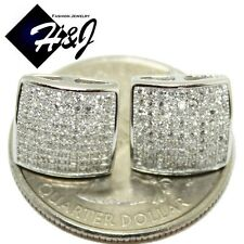 Icy Diamond Bling Stud Earring Men 925 Sterling Silver Square 10Mm