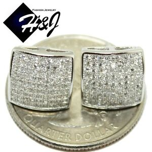 MEN 925 STERLING SILVER SQUARE 10MM ICY DIAMOND BLING STUD EARRING