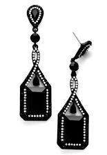 Abendschmuck Luxus Lange Ohrringe Kristall Klar Transparent Schwarz 7,8 cm lang