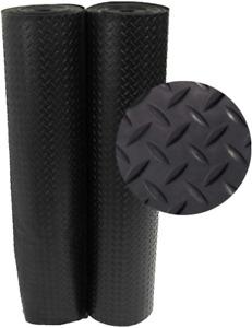 Floor Rubber Mat 4 ft. x 15 ft. Black Rubber Flooring Non Slip Diamond Plate