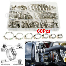 60Pcs Universal Stainless Steel Hose Pipe Hoop Strong Hose Clamps Wire Assorted