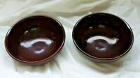 "2 (TWO) Vintage USA Marked Brown Pottery Stoneware 5.75""  Bowls"