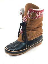 💗MINT💗 KHOMBU VAIL Brown Suede Rubber Lace-Up Rain Duck Boots Women 7 M #7587