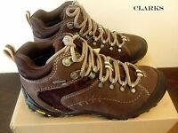 CLARKS Ignify Mid GTX Dark Brown Leather Women's HIKING Boots UK 3.5 5.5 RRP£130