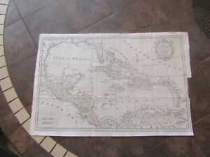 1777 ORIGINAL Huge map of West Indies, Puerto Rico, Cuba, Jamaica, Florida