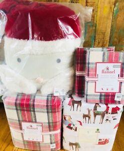 Pottery Barn Kids Queen Santa Sheet Set F/Q Morgan Duvet Shams Pillow Christmas