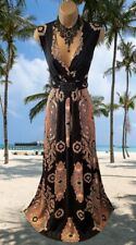 MONSOON  STUNNING RARE BLACK & GOLD BEADED PAISLEY STRETCH MAXI  DRESS UK 18 20