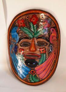 Vintage Mexican/ Aztec-Genre Terracotta Wall-Hung Bird Mask. Home Decor Folk Art